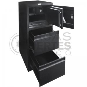 Archivero con caja fuerte - 2 gavetas + 1 caja